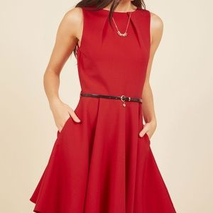 Red Closet Dress with belt, from modcloth